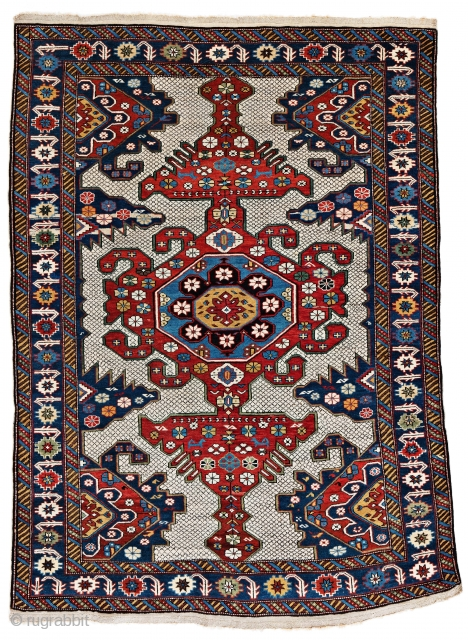 """Lot 11, Shirvan, 155 x 113 cm (5' 1"""" x 3' 8""""), Caucasus, ca. 1880, Auction on November 2nd at 4pm, https://www.liveauctioneers.com/item/76673377_shirvan"""