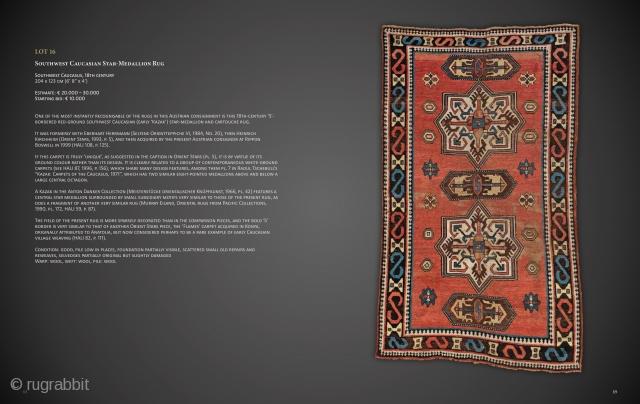 "Lot 16, Southwest Caucasian Star-Medallion Rug, Southwest Caucasus, 18th century, 204 x 123 cm (6' 8"" x 4'), Auction on November 16 at 4pm, https://www.liveauctioneers.com/item/77289551_southwest-caucasian-star-medallion-rug"