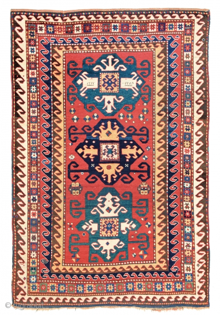 Lot 141, Kazak Star-variant, Caucasus circa 1860, 7 ft. 3in. x 5ft. 1in., 221 x 155 cm.