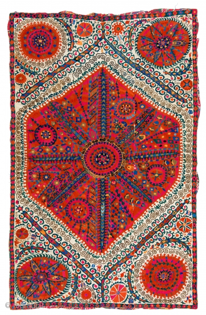 Lot 92, Large Medallion Suzani, Uzbekistan first half 19th century, 8 ft. 8in. x 5ft. 7in., 264 x 170 cm, Provenance: private collection Israel, Haifa,