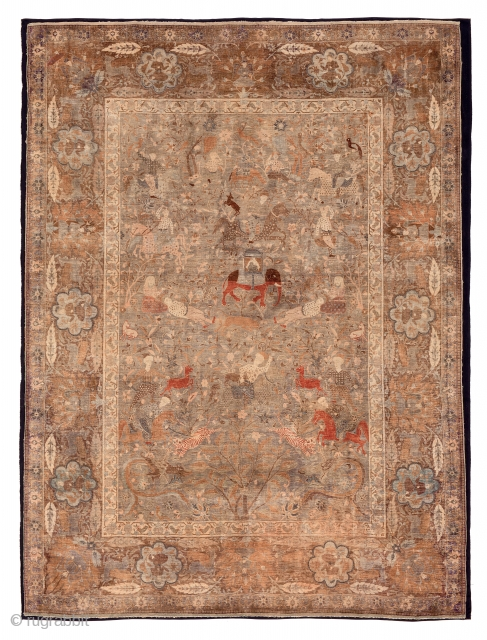 Lot 98, Kum Kapu, Turkey End 19th century, 6 ft. 7in. x 4ft. 9in., 200 x 146 cm, Condition: good, few small repairs, sides and ends slightly damaged, Silk and metal thread pile,  ...