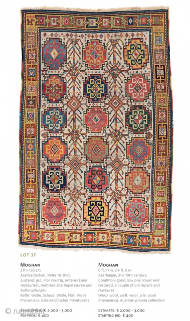 Lot 37, Moghan, 211x136cm, Auction December 15th at 4pm, Sarting bid € 400, https://catalog.austriaauction.com/en/fine-antique-oriental-rugs-xiii/136-moghan.html