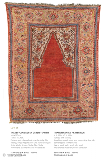 Lot 66, Transylvanian Prayer Rug, 148x117cm, 18th century, Auction December 15th at 4pm, Starting bid € 2000, https://www.liveauctioneers.com/item/67152355_transylvanian-prayer-rug