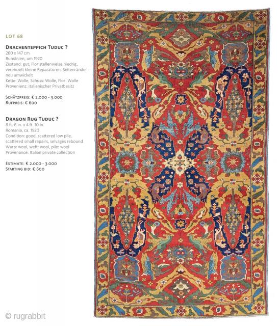 Lot 68, Dragon Rug Tuduc?, 260x147cm, ca. 1920, Starting bid € 600, Auction December 15th at 4pm, https://www.liveauctioneers.com/item/67152357_dragon-rug-tuduc