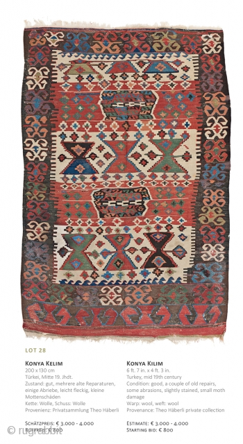 Lot 28, Konya Kilim, 200x130cm, 19th century, Starting bid € 800, Auction December 15th at 4pm, https://www.liveauctioneers.com/item/67152317_konya-kilim