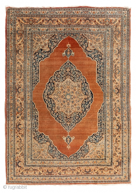 """Antique Tabriz Haji Jalili rug, 133x183cm (4'4""""x6'0""""), some small damages to the sides. One corner slightly rest. One corner slighly damaged. Some low pile areas. Overall good condition."""