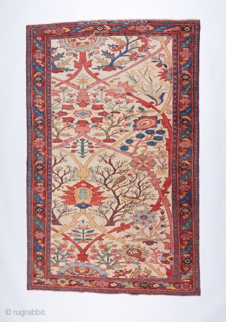 """The best Bijar in all the land. Fine """" halvai """" weave, hot red ( who cares ) . Inscription dating it to 1900.  A painterly masterpiece. 7'2"""" x 4'7"""". Has  ..."""