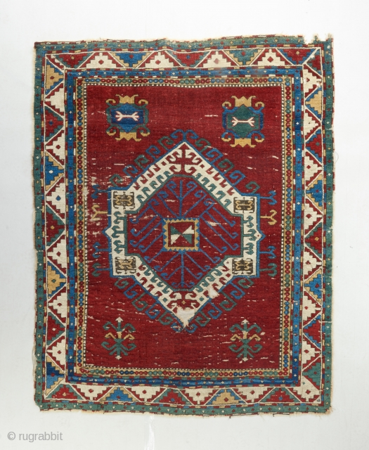 Mid 19th century Fachralo Kazak with blazing color. 