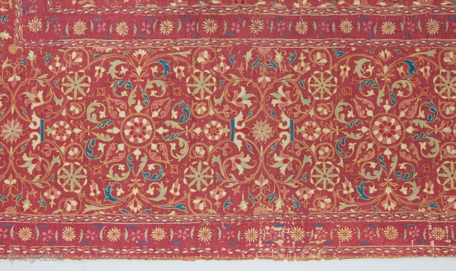 Gorgeous early Indian 17th/early 18th century textile (detail pic). silk on silk on linen.  Ask for full pic and more details. 