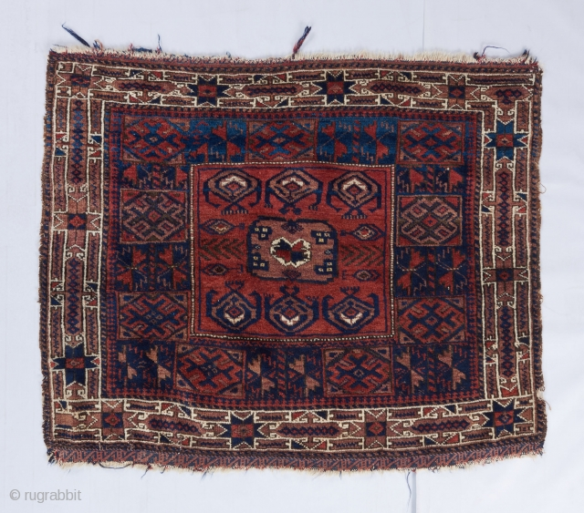 Baluch salor gol bagface. The faded brownish, purplish, grayish color is either fuchsine or logwood dye. Ask for more details.   Visit our website for more rare woven art : www.bbolour.com