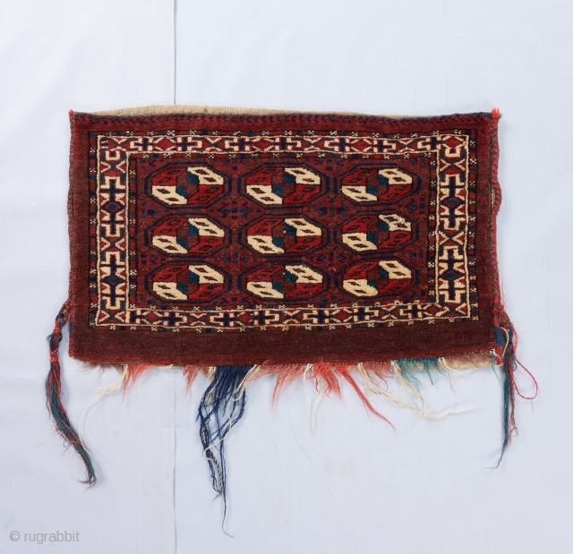 A complete Yomut bag in excellent condition with a somewhat rare design. All good color. Probably late 19th but charming nonetheless and priced accordingly.  Please visit our website for more rare woven art  ...