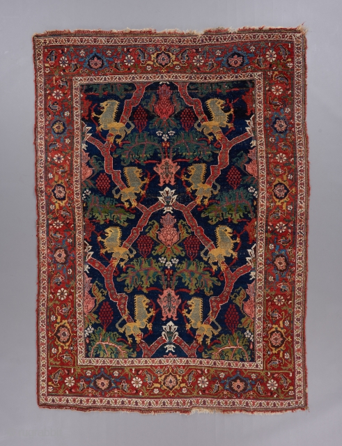 Best and oldest of type Lion Bijar rug. Well spaced design. All natural, not to mention beautiful colors, which is exceedingly rare for this type, most of them being circa 1900.   ...