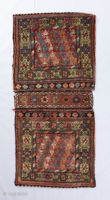A complete Kurdish/Northwest Persian Khorjin with an uplifting color palette. A recent local find. Gorgeous wool and excellent condition. Great aubergine, greens and blues but also a weak grayish color. 5' x  ...