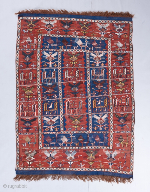 "Azeri flatware. 6' x 4'3"". Great condition. A bit crooked as visible.   Please visit our website for more rare woven art: www.bbolour.com"