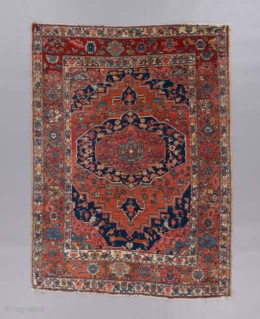 "Super cute small Heriz rug with a thoroughly villagey vibe. 6' x 4'5"". Very good condition."