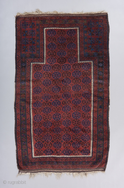 "A stately Timuri prayer rug. Great moody color palette, especially the blue. Very good condition. All original. 3'11"" x 3'. 