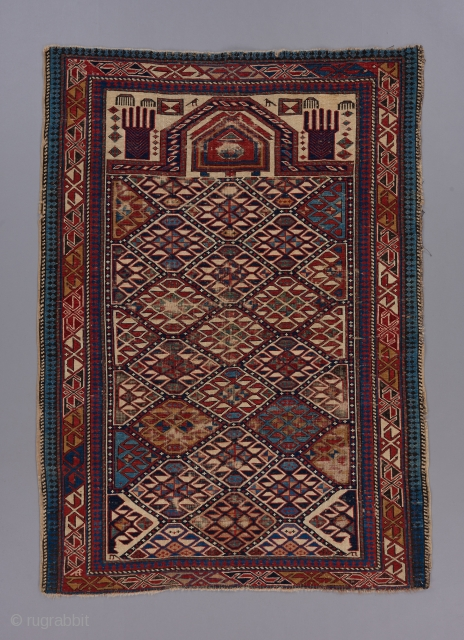 "Shirvan prayer rug. 4'5"" X 3'2""."