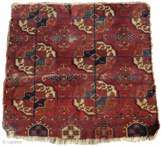 Fine Tekke Turkmen main carpet fragment. Very respectable age with sophisticated color, fine weave, and older drawing features.