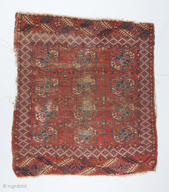 "Funky Tekke small rug with an interesting border and elems.  3'8"" x 3'3"" .