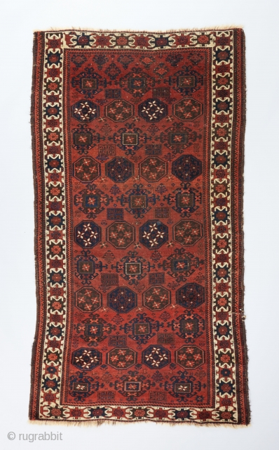 """Fine Baluch rug with Kurbaghe gols and an interesting white ground border. 5'4"""" x 2'11"""".  Please visit our website for more collectible woven art : www.bbolour.com"""