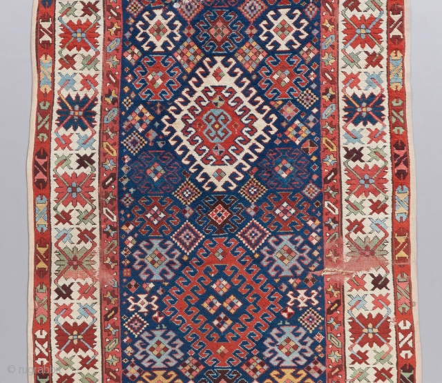 "Kazak long rug with dazzling colors. 11'7"" x 3'10"""