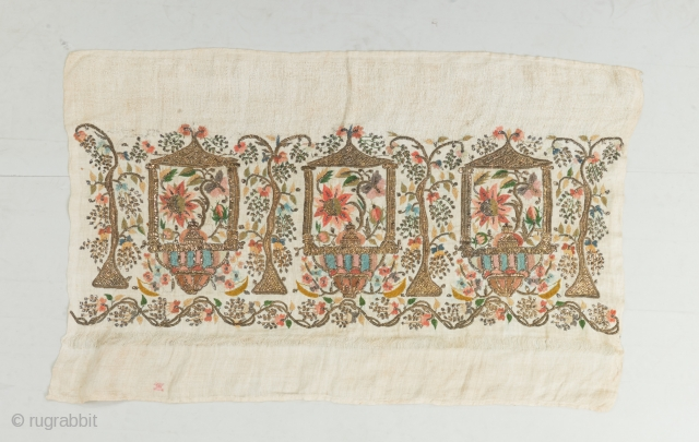 """A wonderful Ottoman textile. Silk and metal on linen. Complete. Early 19th century. 31"""" x 20"""".  View our website to peruse more woven gems: www.bbolour.com"""