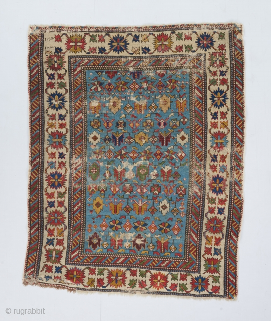 "An early Chichi dated 1247 hijri/1831Gregorian. Beautiful springtime color palette and great drawing of the classic border. Wear as can be seen. Backed with linen. Small areas have been painted. 3'10"" x  ..."