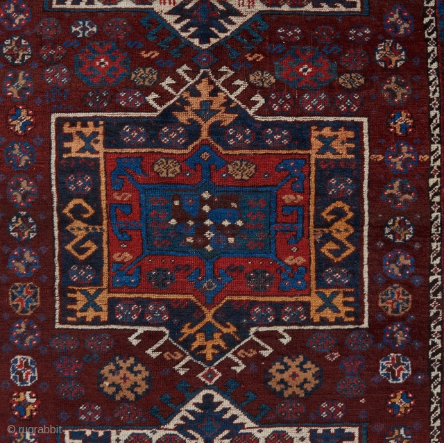 Qashqai rug with an interesting design, great color and condition.   Please visit our website to see more rare tribal pieces: https://www.bbolour.com/tribal-and-village-rugs-1/