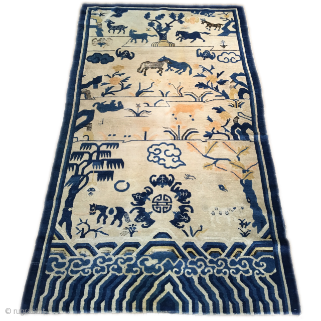 Chinese pictorial rug with auspicious imagery