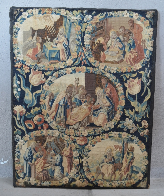 """Northern European Tapestry panel. mounted on a frame.  2' x 2'6"""""""