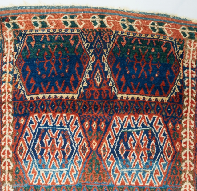 "East Anatolian Kurdish rug. All original. Mostly high pile with one area worn to the foundation as visible. Fiery orange and electric blue. Great wool. An authentic village weaving. 6'4"" x 3'7"".  ..."