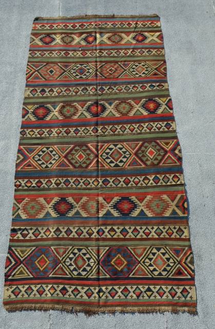 Shirvan Kilim. Wonderful colors. 10' x 4'9""