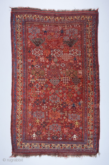 "A rare and beautiful Khamseh rug. A cornucopia of tribal iconography including a  formation of mother and child bird motifs at the top . 7'5"" x 4'7"". 