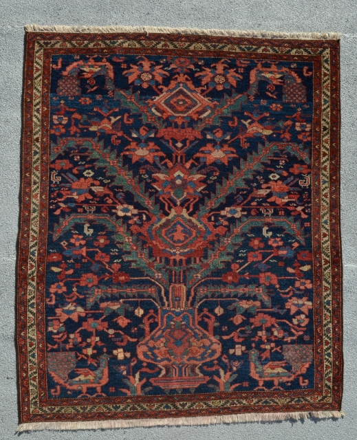 "Rug with roosters. 4'8"" x 3'10""."