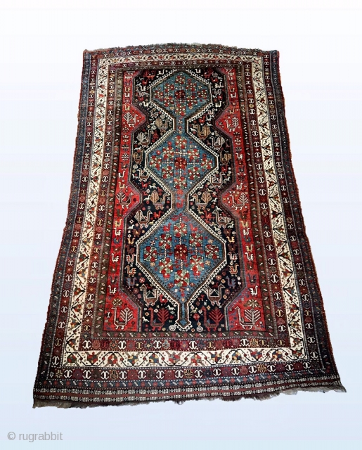 "Khamseh rug in very good condition . 8'8"" x 5'7""."