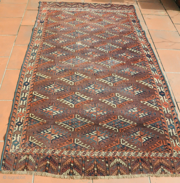 small yomut main carpet.Some old restaurations, low pile. If you are interested, please ask for more images.  measurements ca. 254cm x 140cm