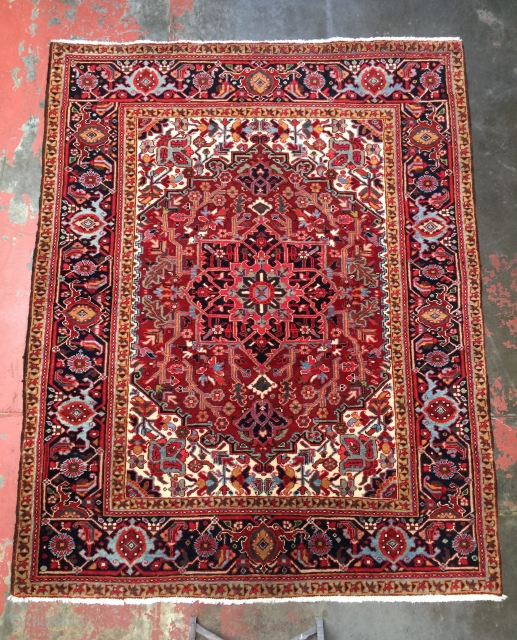"Small superb quality Heriz rug circa 1930. Size: 5'0"" x 6'2"". Clear jewel colors, soft glossy wool, fine weave, and a supple handle. Perfect condition with thick full pile over the entire  ..."