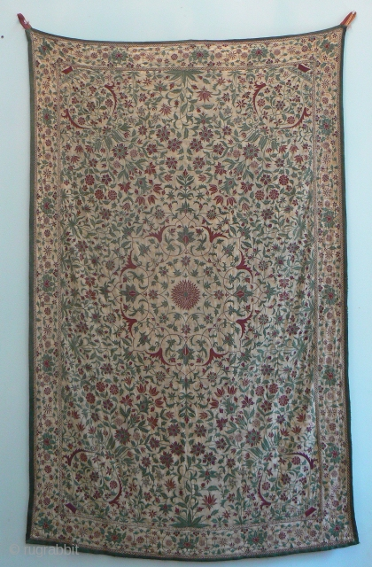 Spectacular Top-Shelf Antique Indian Embroidery. I'm happy to offer this spectacular antique wall-hanging embroidery from India. It is probably from the beginning of the 20th century (60-110 years old) and is probably  ...