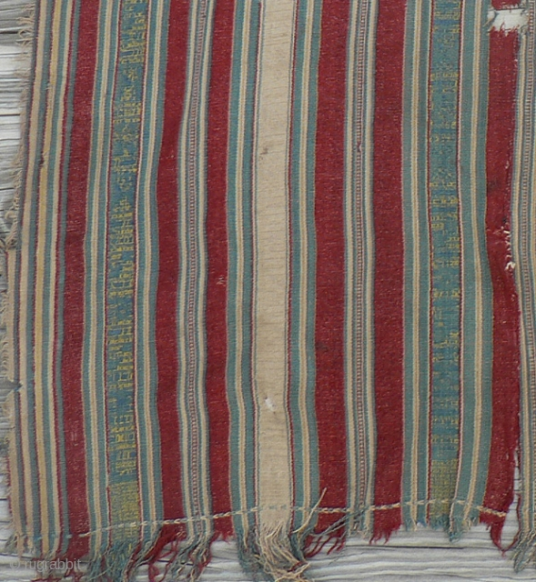 Beautiful antique silk textile from Bhutan, several loom widths sewn together lengthwise, made from wild tussar silk, with beautiful dyes. The damage is apparent -- holes and frayed edges -- but it's  ...