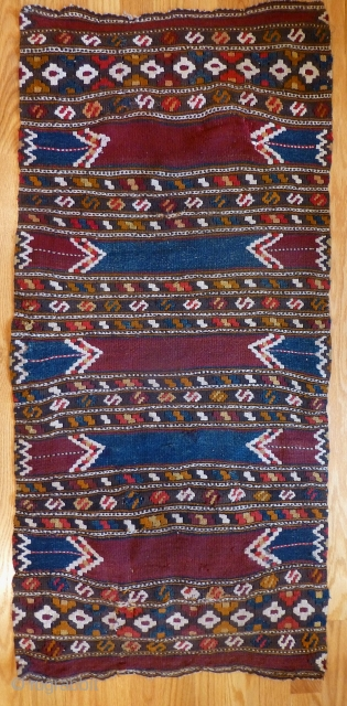 Antique Turkish Monastir kilim. 45 x 22 inches. Good condition, nice colors. 