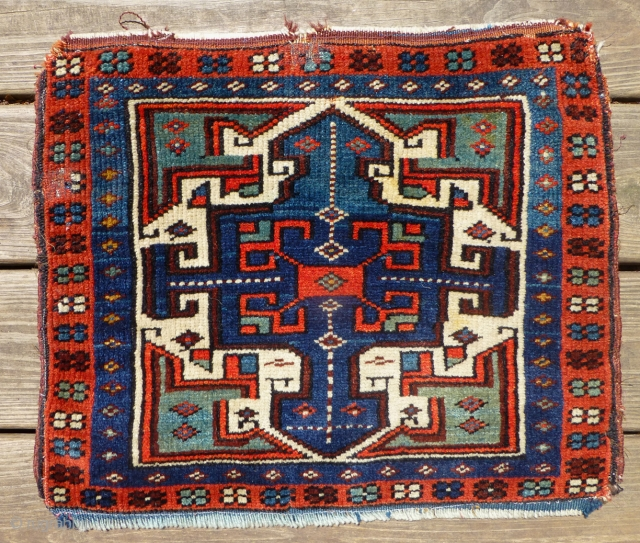 Antique Turkish Bag Face. This is a beautiful Turkish (Begama?) bag face with glowing colors, with near-full pile. 19 x 16 inches. Symmetric knotting. There's two small one-inch areas in top and  ...