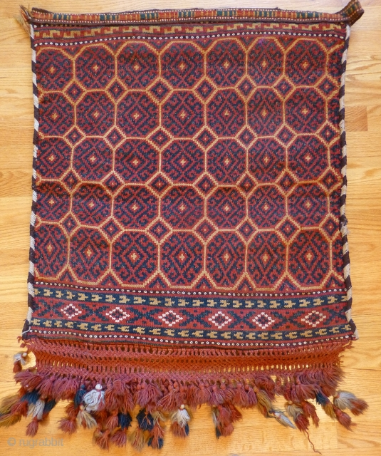 Attractive flat woven bag (Usbek? Baluch?) with woven back and woven fringes. 31 x 27 inches. Excellent condition. Tile design. With flatwoven closure straps. See more textiles at www.banjaratextiles.com