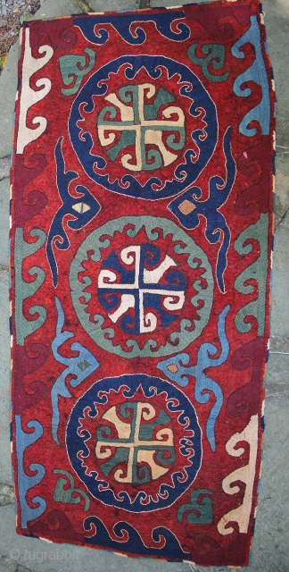 Nice old Uzbek or Kungrat felt rug. 6 ft x 3 ft in excellent condition. Ready for your floor or wall. www.banjaratextiles.com