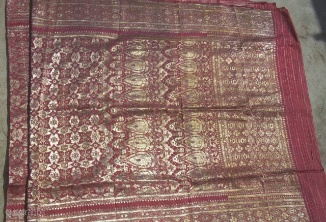 Antique gold metallic thread brocade sari from Gujarat region of India. Beautiful old brocade in very good condition. 184 x 42 inches. www.banjaratextiles.com