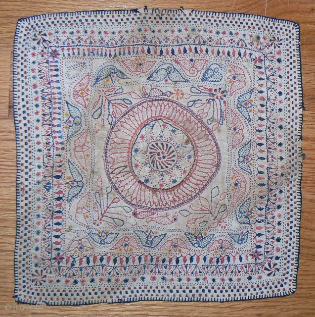 Small Antique Kantha embroidery. 10x10 inches. From the West Bengal region of India, traditionally created from fragments of old family garments and recycled threads.Lovely, small-sized kantha embroidery in good condition. Embroidered with  ...