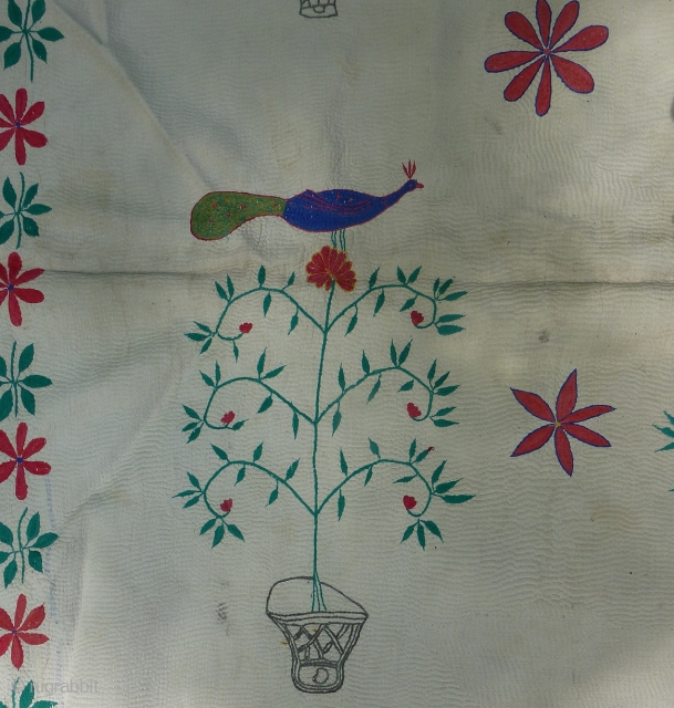 Special extra large antique Kantha quilt in great condition. 75 x 51 inches.  Full of joyful whimsy with various peacocks sitting in the tops of potted flowers and/or  trees. White  ...