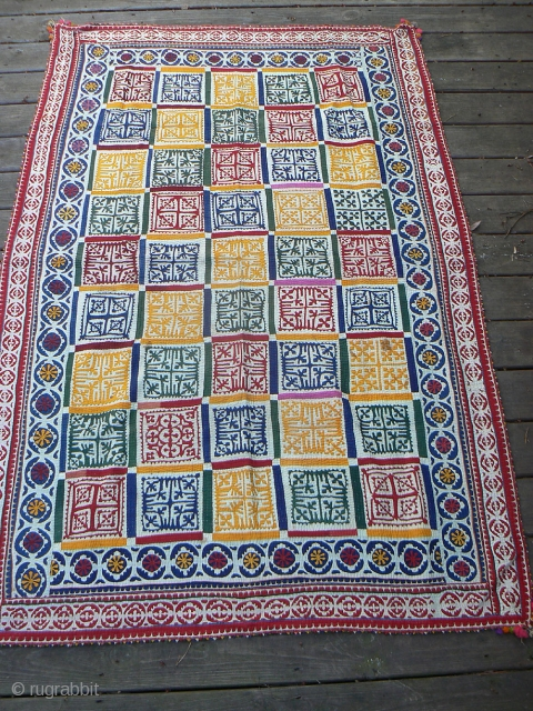 Spectacular Large Old Sindi Indian Applique Quilt. Beautiful, colorful design and execution. Excellent condition. 77 x 51 inches.
