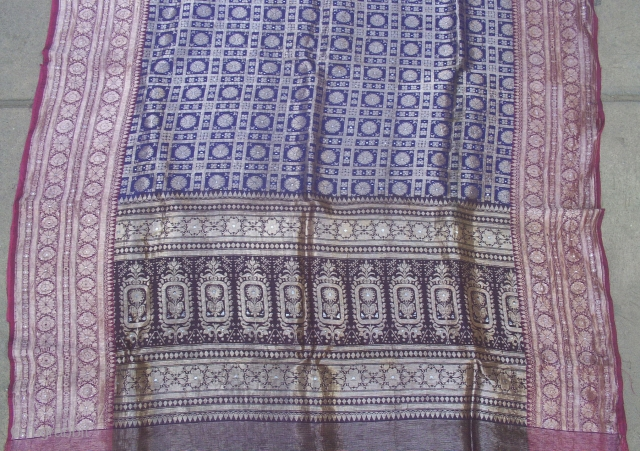Antique gold metallic thread brocade sari from Gujarat region of India. Georgeous old brocade in great condition. 200 x 42 inches. I think it's silk, but I'm not positive. The colors are  ...