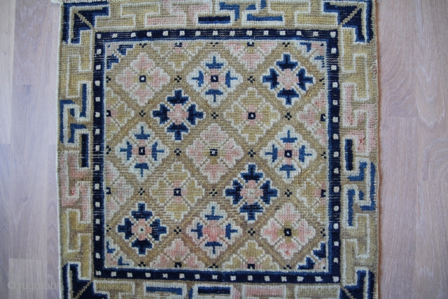 Seat mat China 19th century Wool on Cotton good condition Sitze:53x51cm