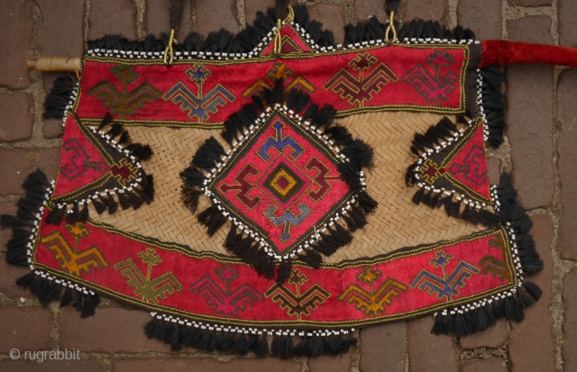 Silk embroidered Swat wedding fan or Pakka